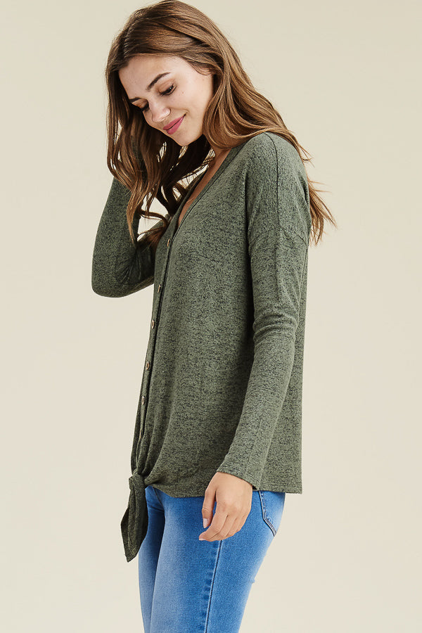 Olive Luxury Button Down Top