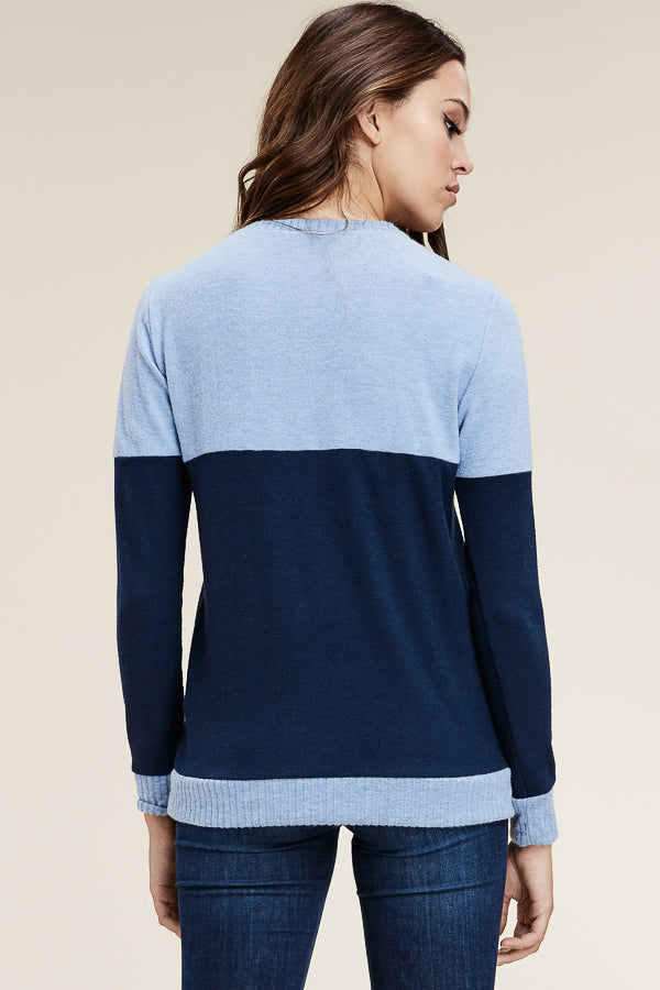 Navy & Blue Pocket Sweater