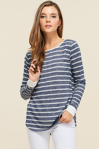 Blue Striped Twisted Tank