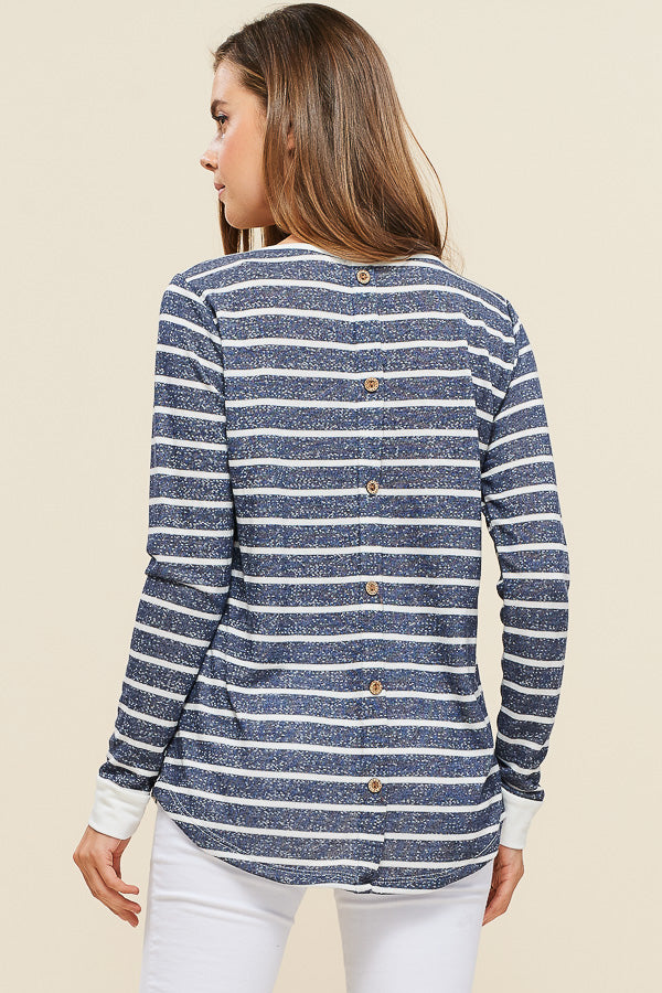 Navy Striped Button Back Top