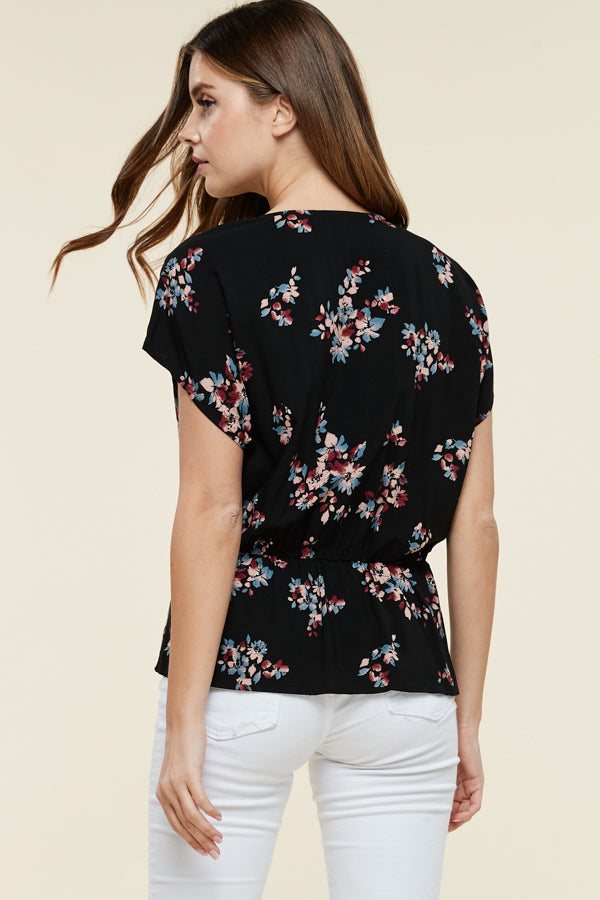 Black Side Knot Floral Top