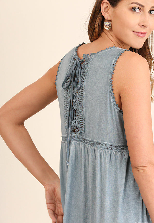 The Larkspur Lace Up Dress in Blue