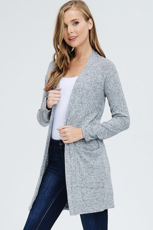 Heather Grey Side Pocket Cardi
