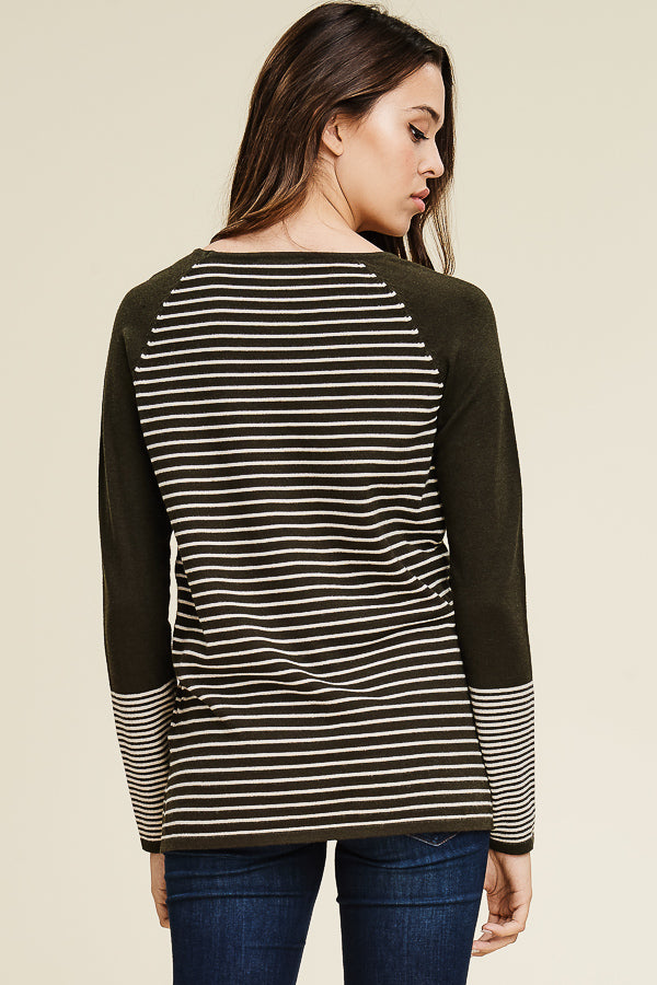 Striped Olive Pocket Sweater