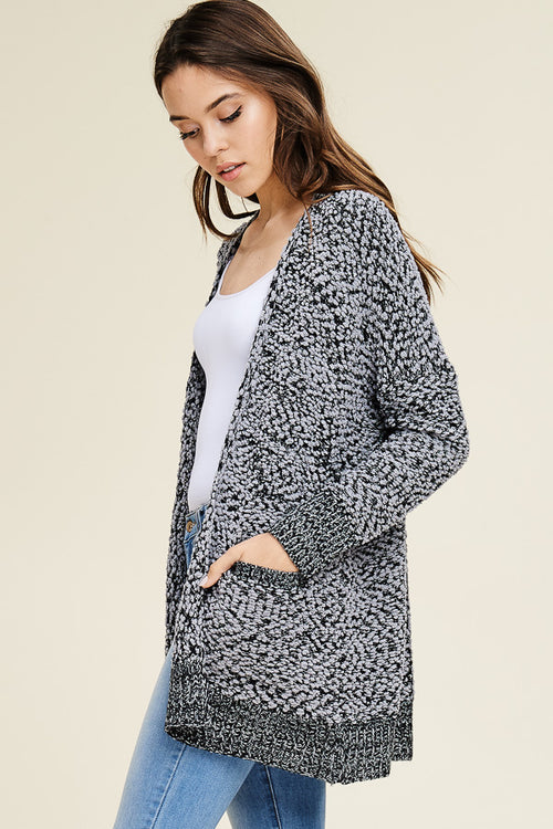 Charcoal Speckled Chunky Cardi