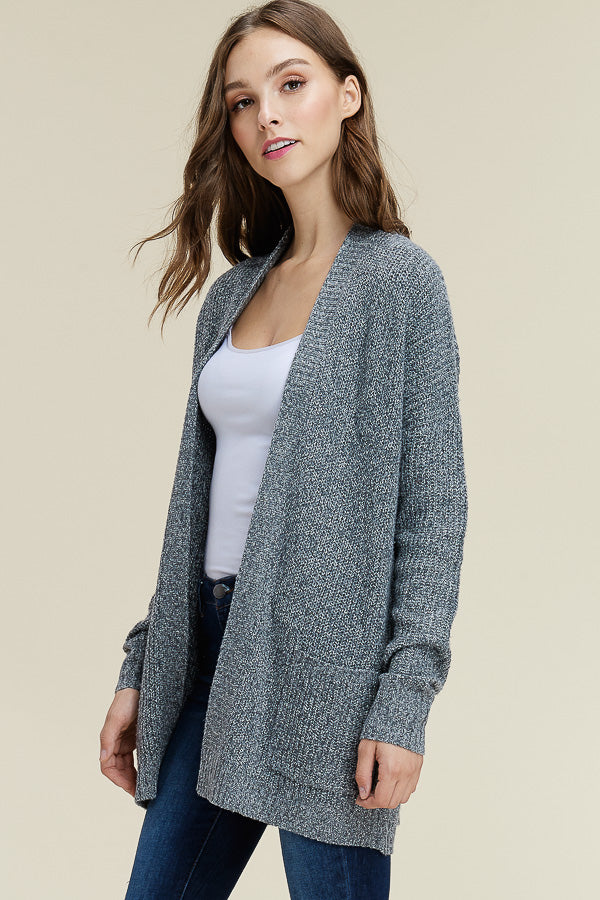 Charcoal Mix Open Cardigan
