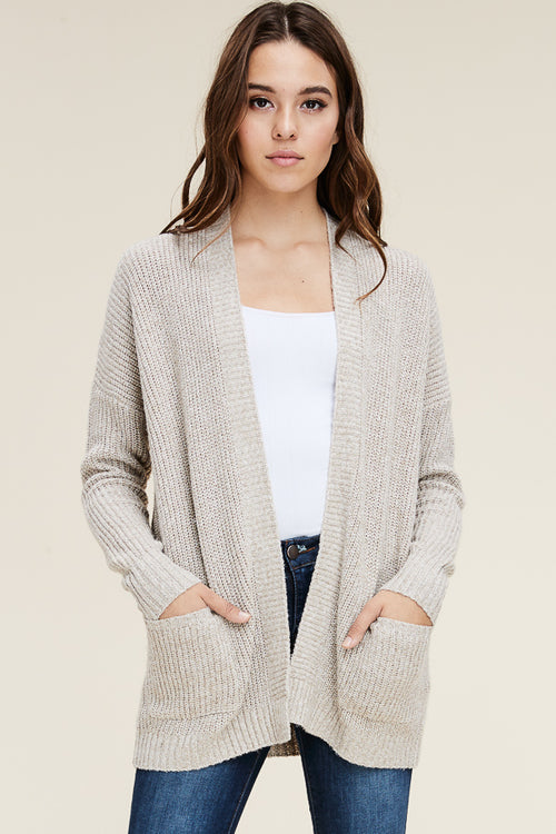 Oatmeal Mix Open Cardigan
