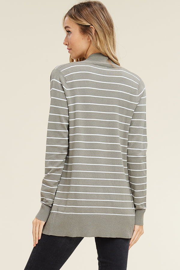 Striped Olive & Ivory Cardigan