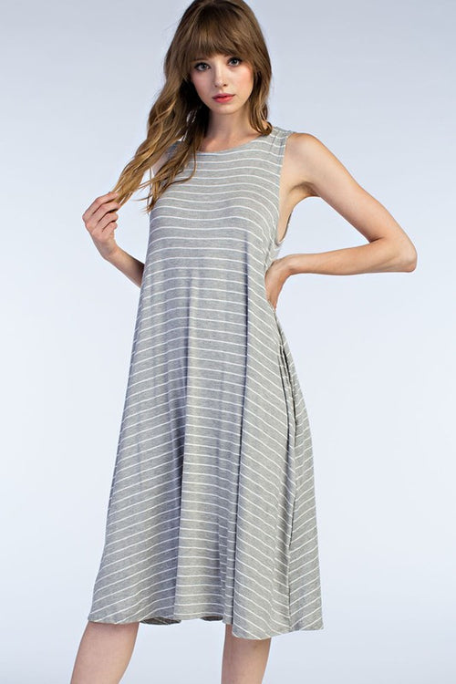 Striped Grey Tank Dress