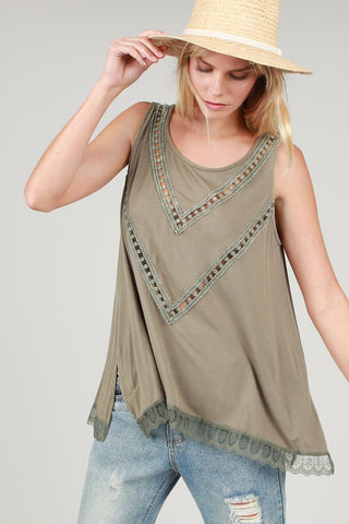 Navy Three Button Tank