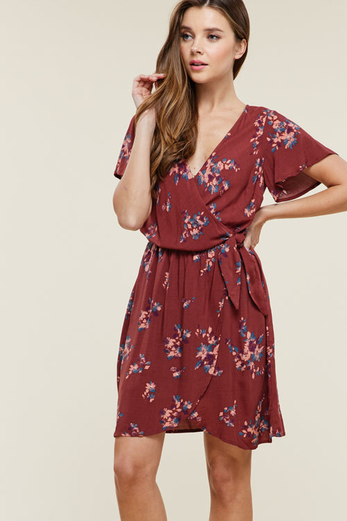 Floral Rust Wrap Dress