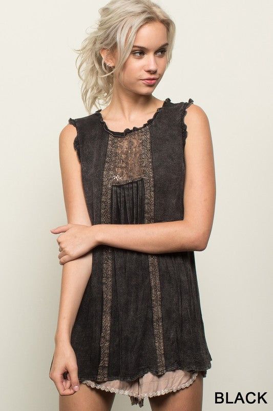 Mineral Wash Lace Tank in Black