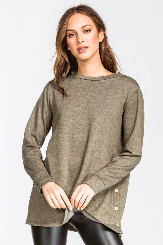Olive Side Button Top