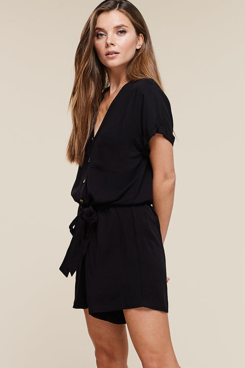 Button Up Tie Waist Romper in Black