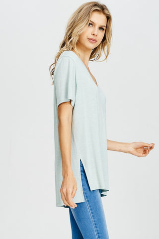 Blue Grey V Ribbed Top