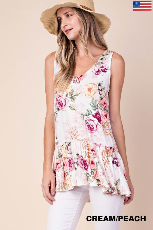 Peaches & Cream Floral Tank