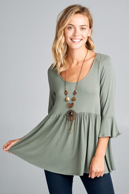 The Portland Peplum in Olive