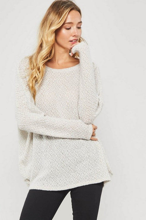 Oatmeal Mix Soft Twist Sweater