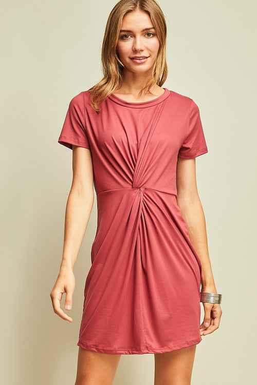Marsala Twist Front Dress