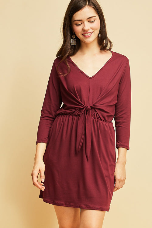 Wine Front Tie Dress