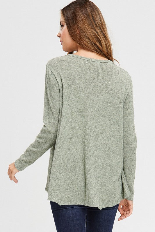 Olive Slouchy Pocket Top