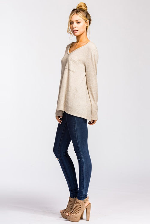 Taupe Slouchy Pocket Top