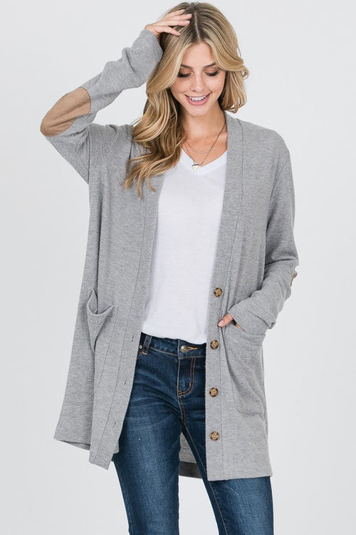 Grey Button Down Patch Cardi