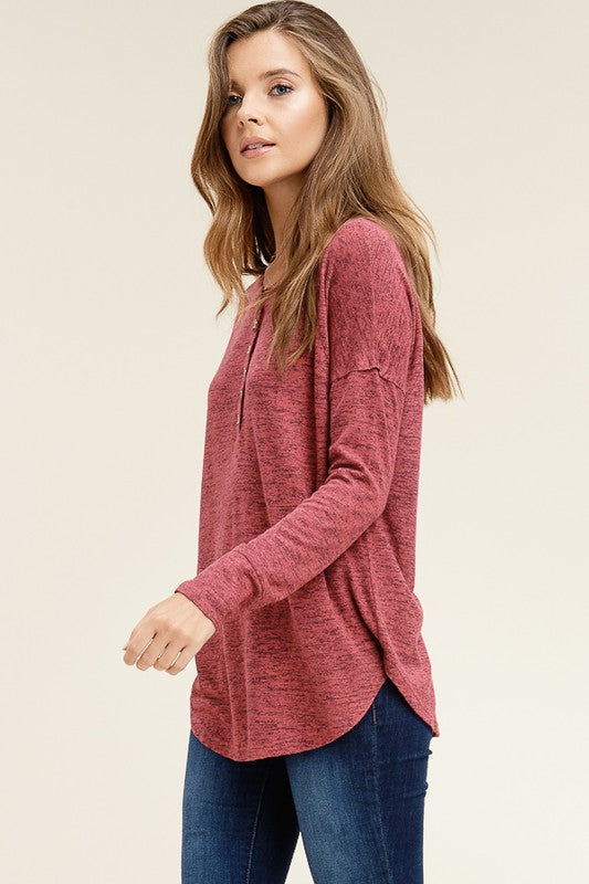Heather Berry Front Buttons Top