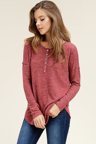 Twisted Burgundy & Grey Top