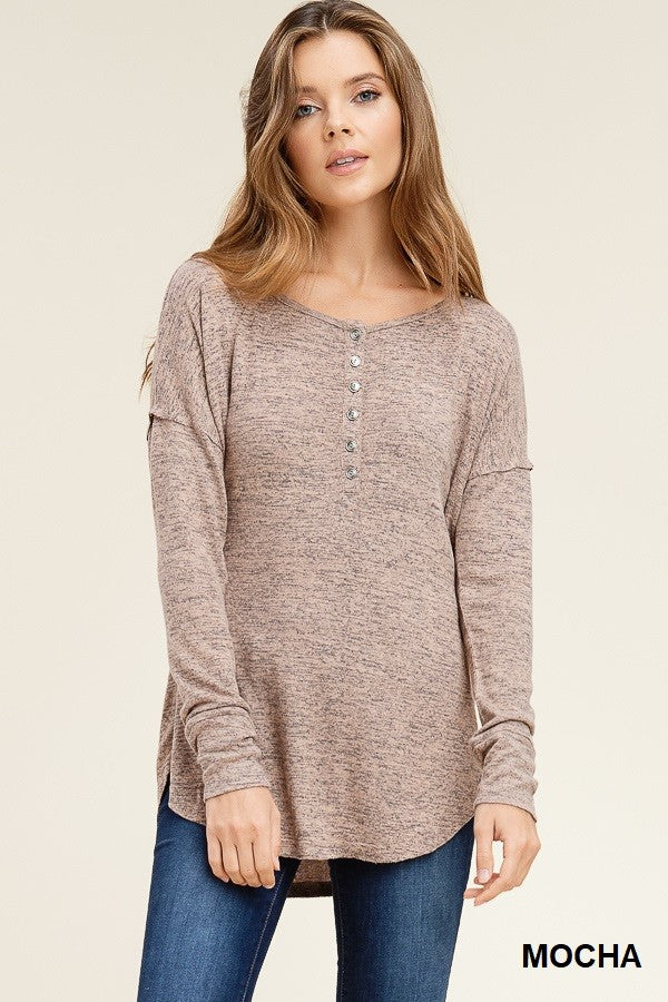 Heather Mocha Front Buttons Top