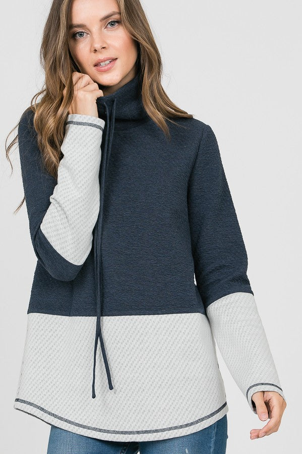 Navy & Grey Drawstring Cowl Sweater