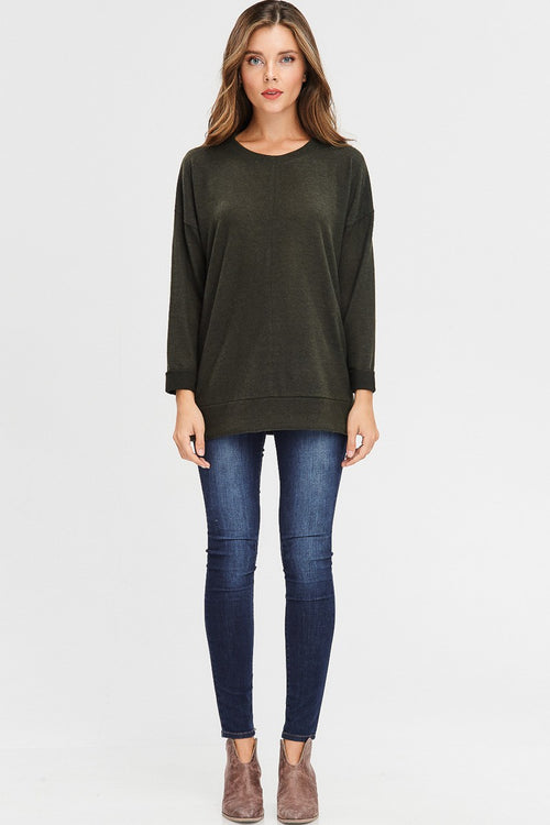 Cuffed Olive Pullover