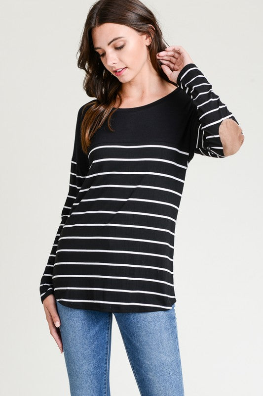 Striped Black Patch Top