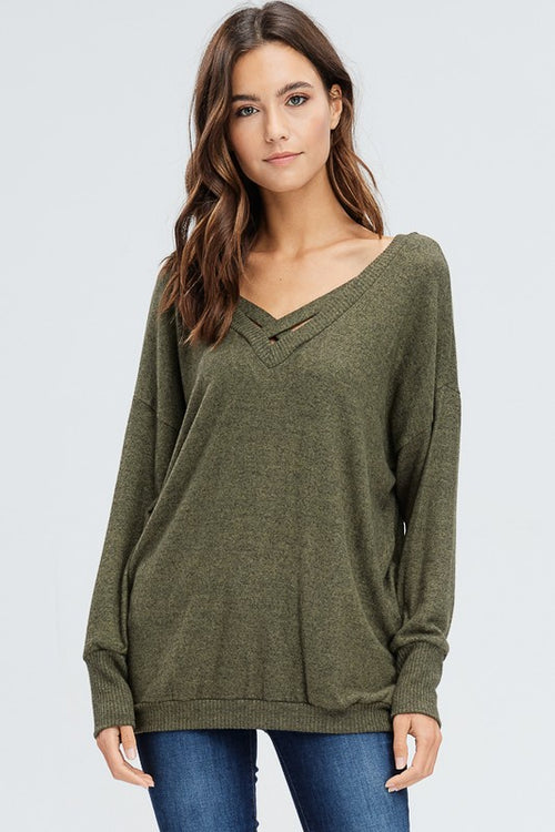 Criss Cross Olive Sweater