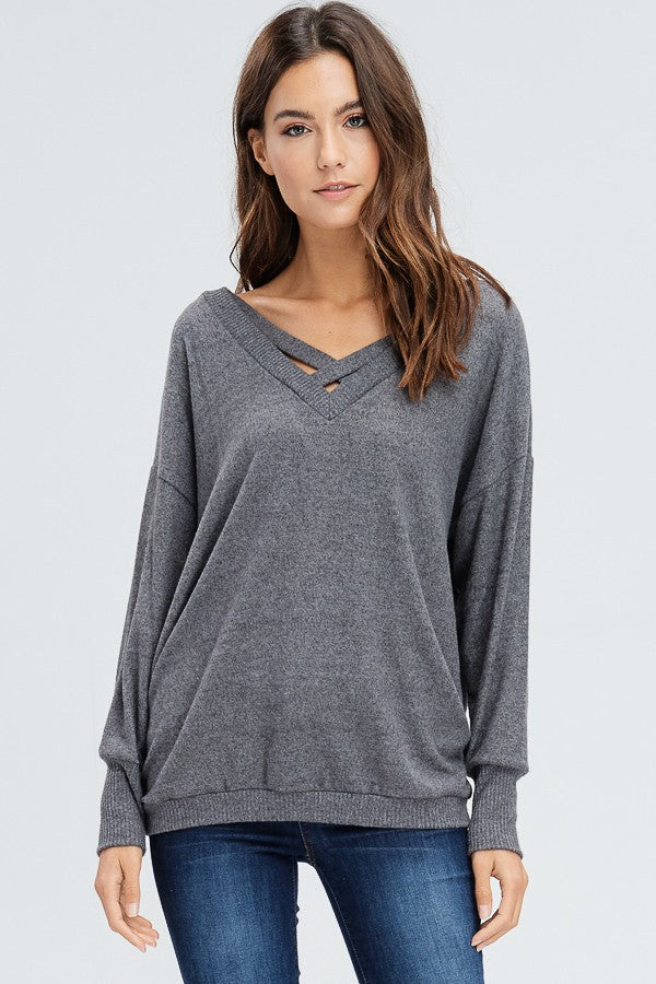 Criss Cross Charcoal Sweater
