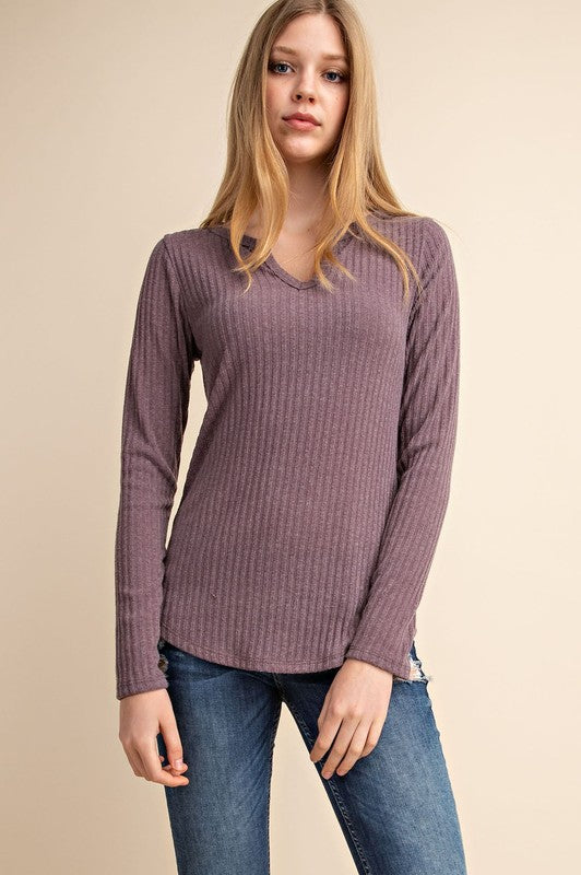 Mauve V Ribbed Top