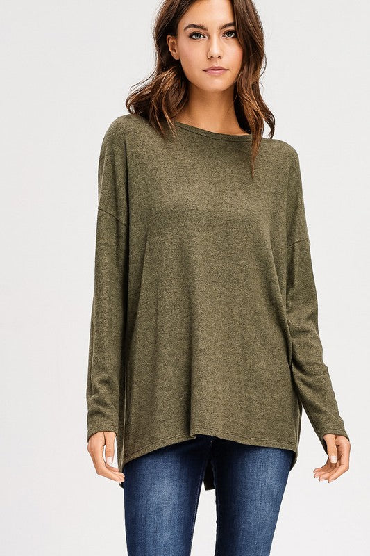 Scoop V Back Olive Sweater