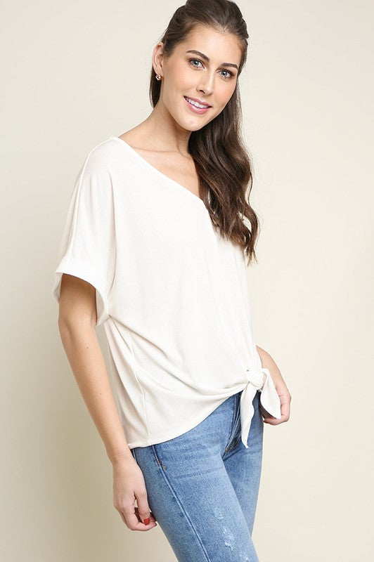 Estes Front Tie Top in Ivory
