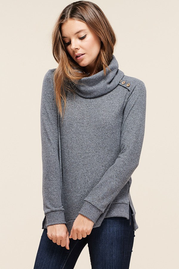 Cowl Grey Button Hacci Sweater