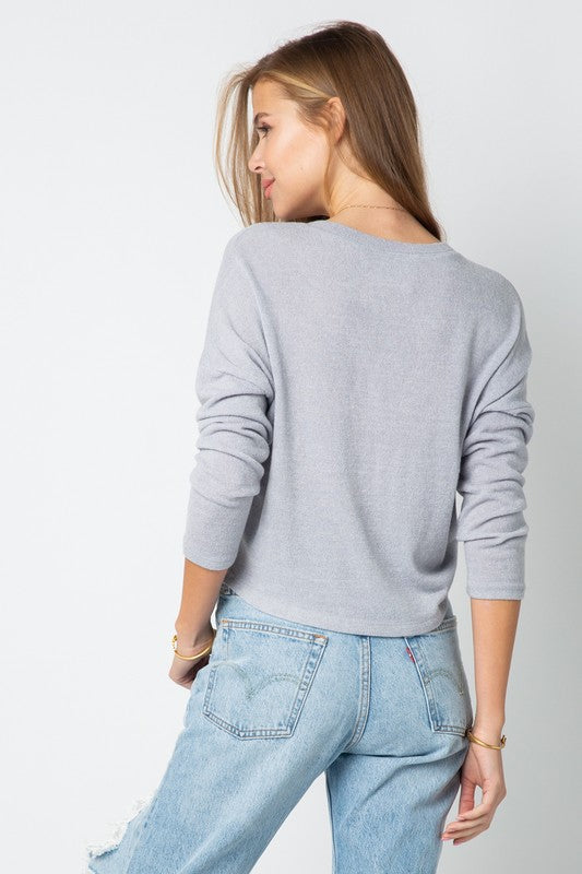 The Grey Knit Crop Sweater