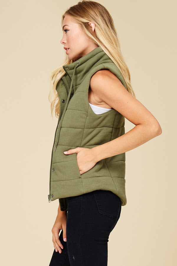 Olive Puffy Vest