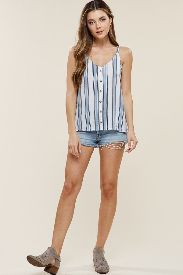 Blue Striped Button Up Tank
