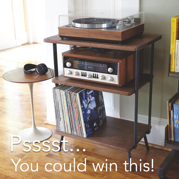 walnut and steel shelf hi fi station
