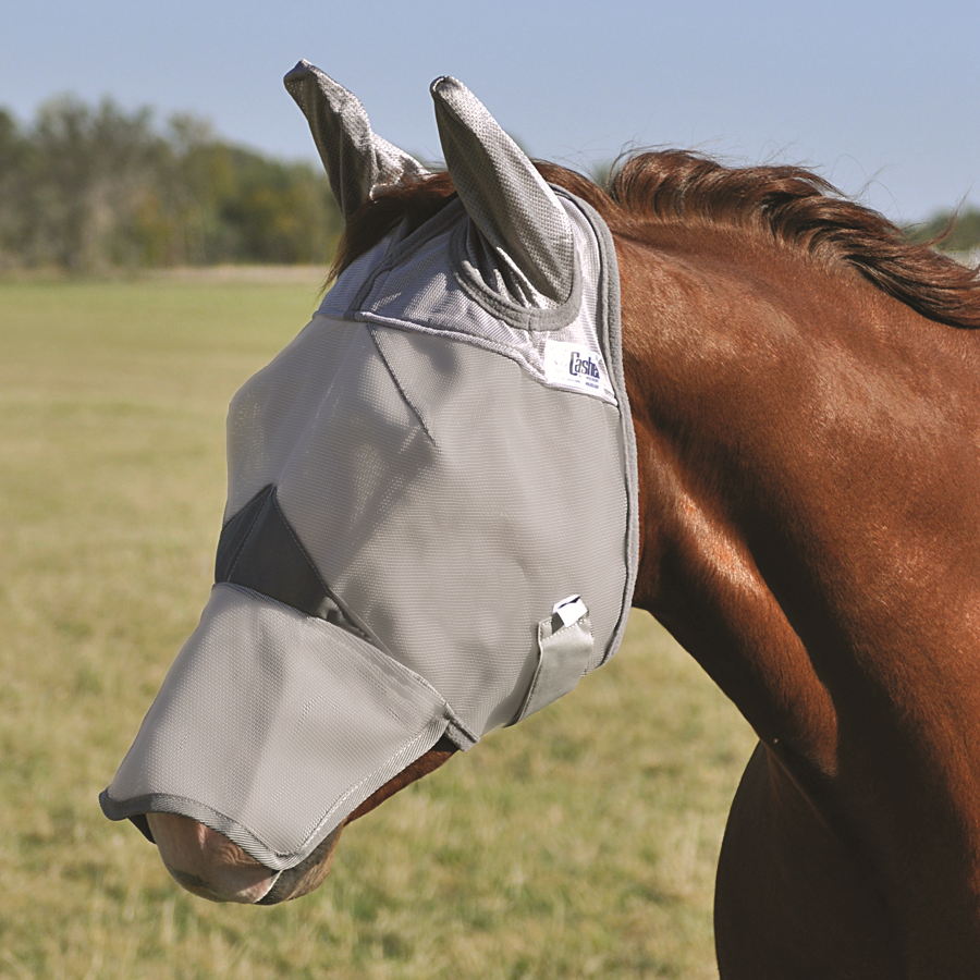 Crusader Fly Mask with long Nose & Ears - Yearling/Pony