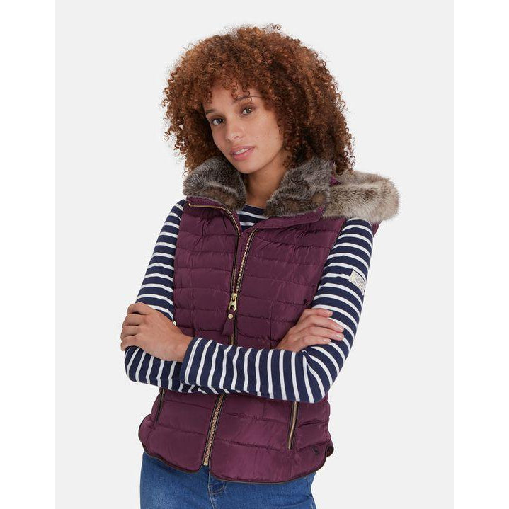 Joules Vest Melbury Faux Fur Trim on Hood