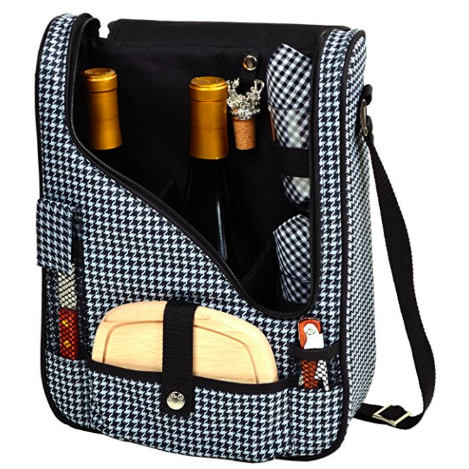 Picnic At Ascot Two Bottle Tote Houndstooth