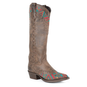 Stetson Boots Ladies Brown Embroidered