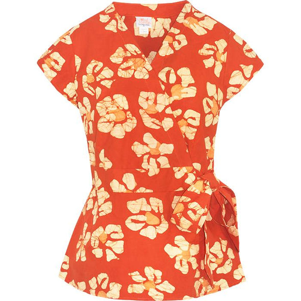 Batik Wrap Blouse - Tangerine-Top-Aware... the social design project