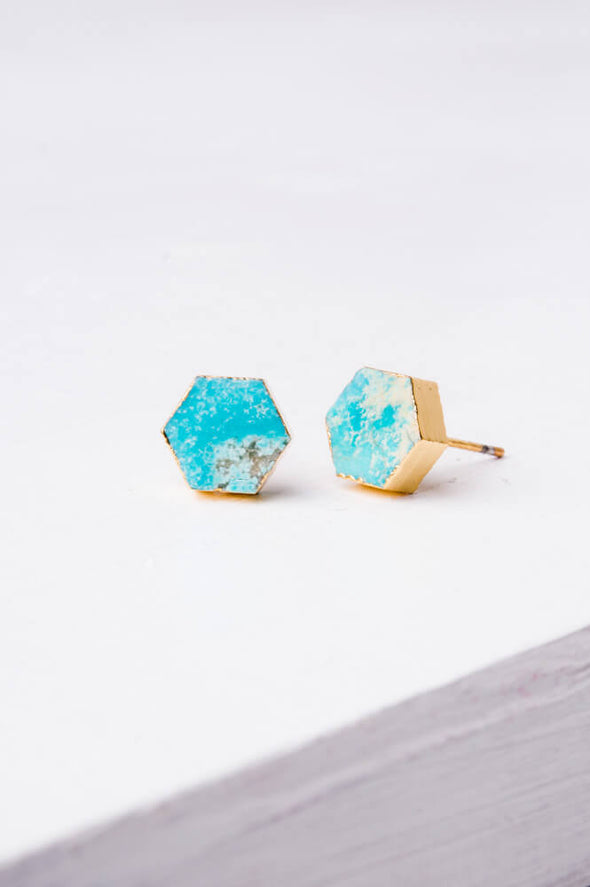 Starfish Project -Turquoise Hexagon Stud Earrings-Earrings-Aware... the social design project