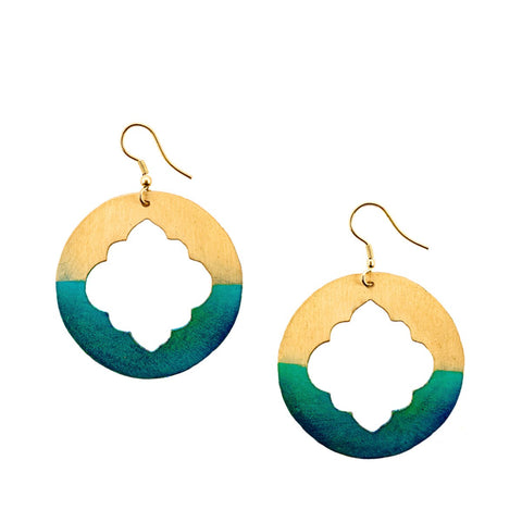 Window earrings - Gold Patina